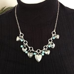 Silver Hearts Necklace with Blue Bead accents